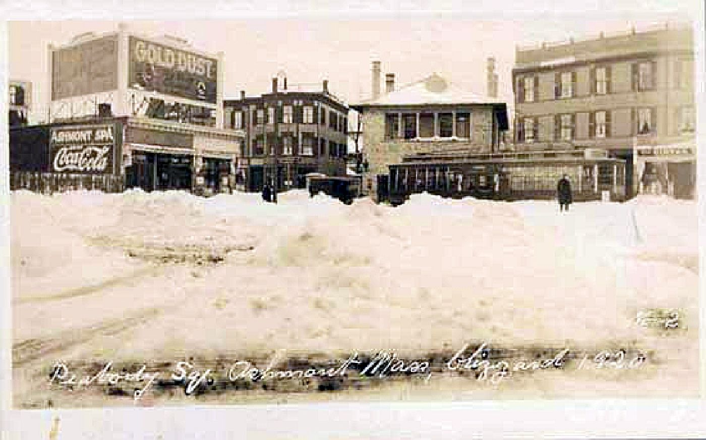 Peabody Sq. Ashmont, Mass., blizzard of 1920