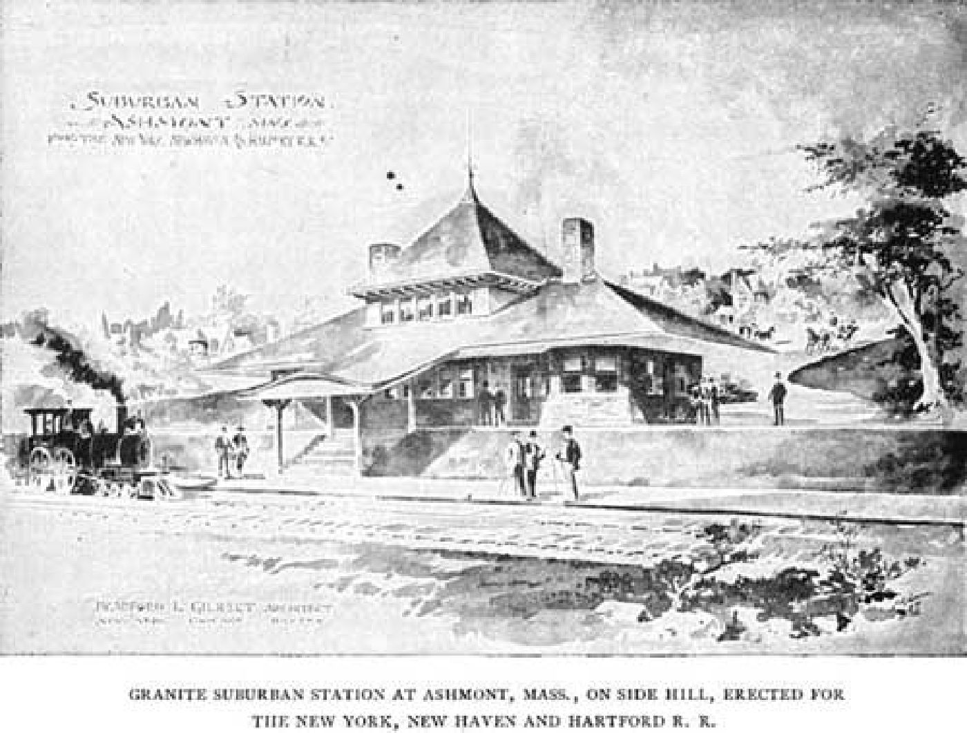 Romantic architect's rendering of Ashmont Station circa 1900