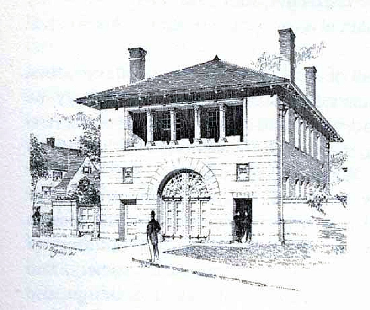 1894 sketch by Charles Maginnis of the Ashmont Fire House,