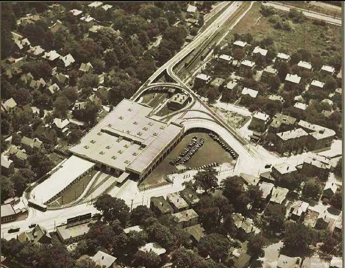 Aerial photo of Ashmont Station 1929